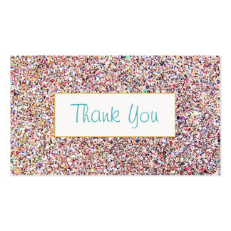 Fun Colorful Glitter Look Thank You Insert Double-Sided Standard Business Cards (Pack Of 100)