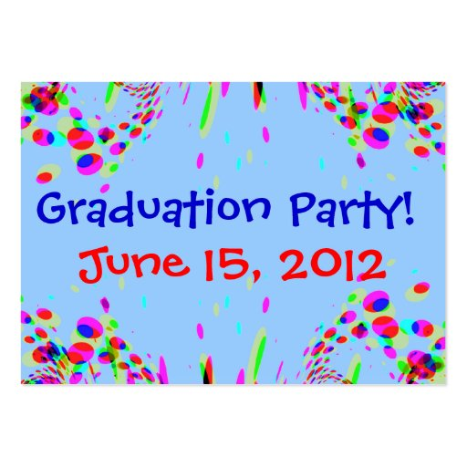 Fun Colorful Graduation Party! Card Large Business Cards (Pack Of 100)