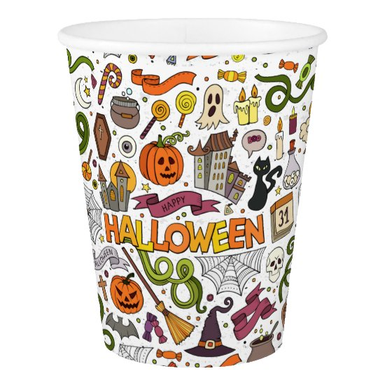 Fun Colorful Halloween Theme Party Paper Cups