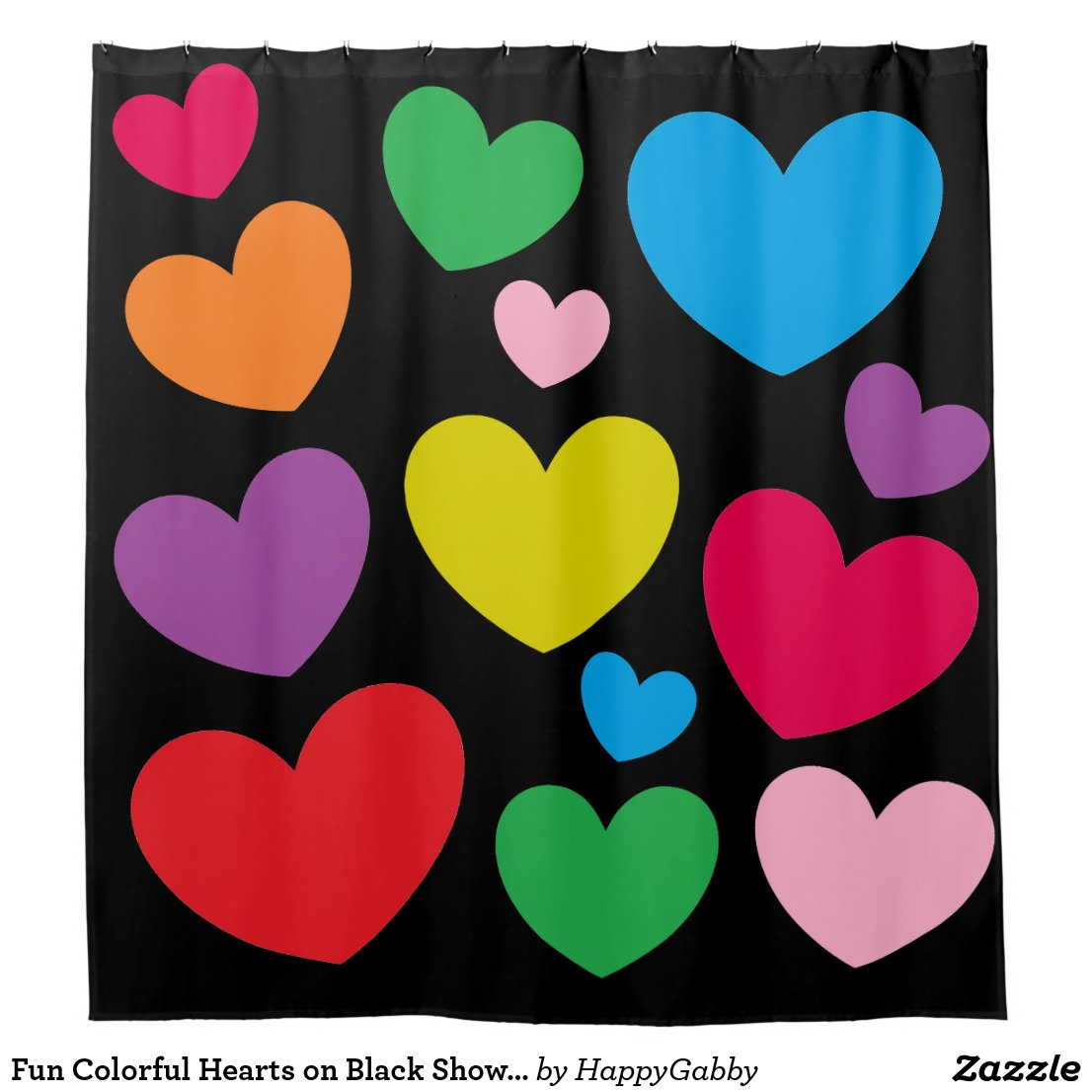 Colorful Hearts on Black Shower Curtain