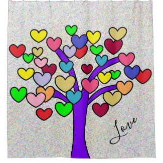 cute LOVE tree shower curtain