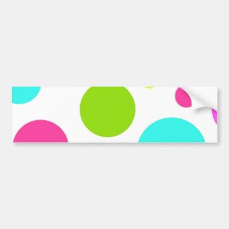 Fun Colorful Hot Pink Blue Green Polka Dots Bumper Sticker