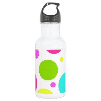 Fun Colorful Hot Pink Blue Green Polka Dots 18oz Water Bottle