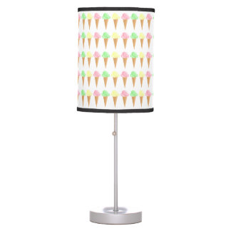 Fun Colorful Ice Cream Cone Pattern Desk Lamp