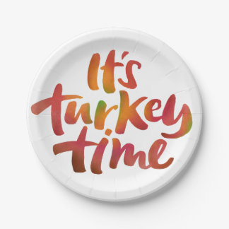 Fun Colorful It's Turkey Time Thanksgiving Dinner Paper Plate