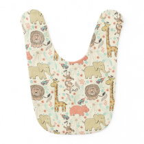 Fun Colorful Jungle Animal Pattern Baby Bib
