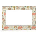 Fun Colorful Jungle Animal Pattern Picture Frame Magnet