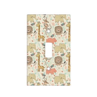 Fun Colorful Jungle Animal Pattern Switch Plate Cover