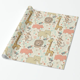 Fun Colorful Jungle Animal Pattern Wrapping Paper