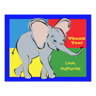 Fun Colorful Little Elephant Note Card