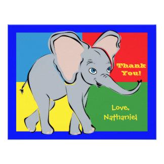 Fun Colorful Little Elephant Note Card Custom Invite