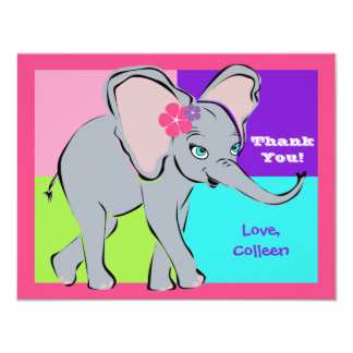 Fun Colorful Little Girl Elephant Note Card
