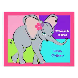 Fun Colorful Little Girl Elephant Note Card Personalized Invites