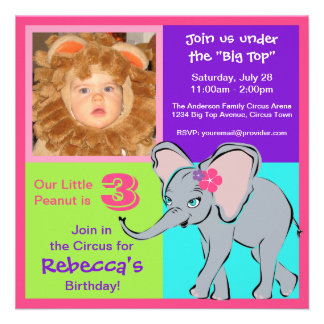 Fun Colorful Little Girl Elephant Photo Invitation