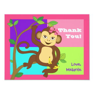 Fun Colorful Little Girl Monkey Note Card