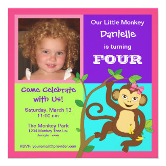 Fun Colorful Little Girl Monkey Photo Invitation