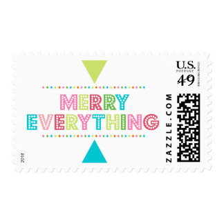 Fun Colorful Merry Everything Postage