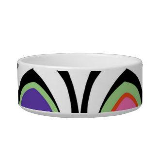 Fun Colorful Modern Art Arch  Shape Pattern Pet Bowls