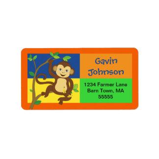 Fun Colorful Monkey Address Label