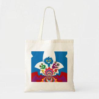 Fun Colorful Monsters Kaleidoscope Pattern Tote Bags