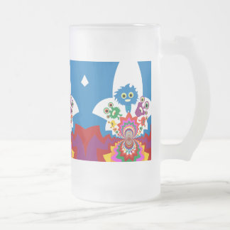 Fun Colorful Monsters Kaleidoscope Pattern Frosted Glass Beer Mug