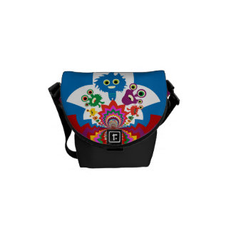 Fun Colorful Monsters Kaleidoscope Pattern Courier Bag