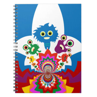 Fun Colorful Monsters Kaleidoscope Pattern Notebook