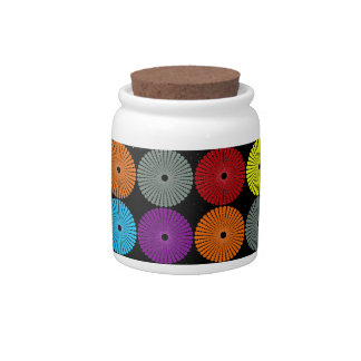 Fun Colorful Multi Colored Circles Disks Buttons Candy Jar