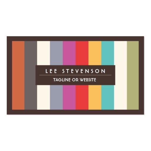 Fun Colorful Multi Stripes  Business Card (front side)
