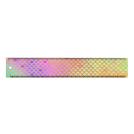 Fun Colorful Ombre Pastel Mermaid Pattern Ruler