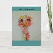 fun colorful ostrich card
