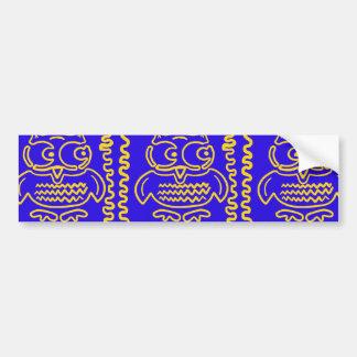 Fun Colorful Owls Blue Yellow ZigZag Pattern Bumper Sticker