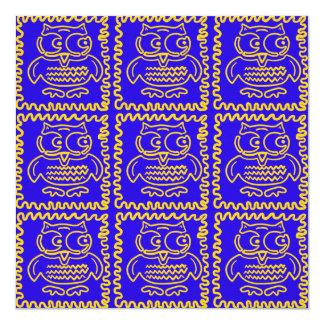 Fun Colorful Owls Blue Yellow ZigZag Pattern 5.25x5.25 Square Paper Invitation Card