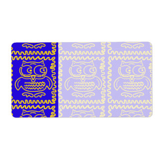 Fun Colorful Owls Blue Yellow ZigZag Pattern Custom Shipping Label