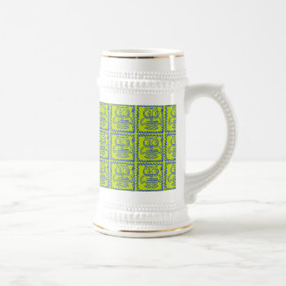 Fun Colorful Owls Lime Green Blue ZigZag Pattern Beer Stein
