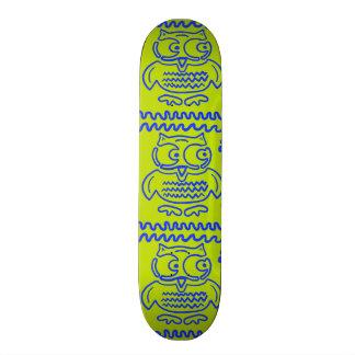 Fun Colorful Owls Lime Green Blue ZigZag Pattern Skateboard Deck