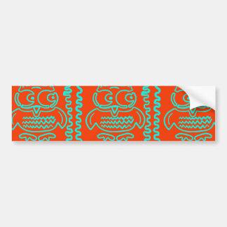 Fun Colorful Owls Orange Teal Blue ZigZag Pattern Bumper Stickers