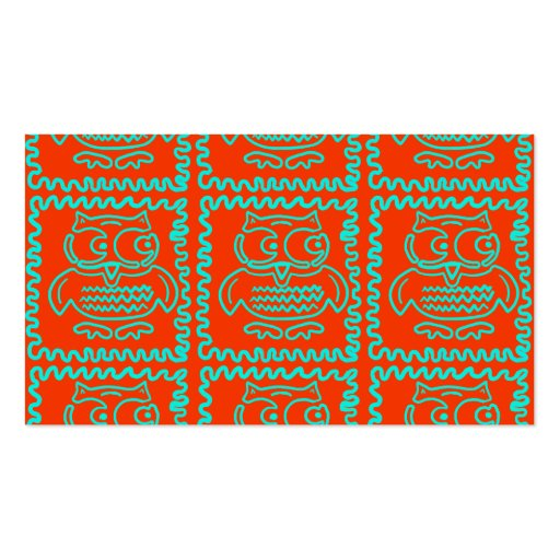 Fun Colorful Owls Orange Teal Blue ZigZag Pattern Double-Sided Standard Business Cards (Pack Of 100)