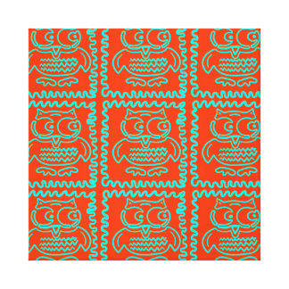 Fun Colorful Owls Orange Teal Blue ZigZag Pattern Canvas Print