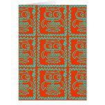 Fun Colorful Owls Orange Teal Blue ZigZag Pattern Greeting Card