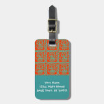 Fun Colorful Owls Orange Teal Blue ZigZag Pattern Tags For Bags