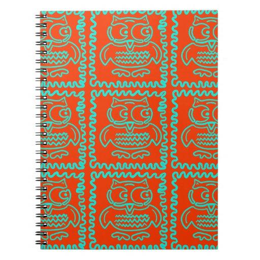 Fun Colorful Owls Orange Teal Blue ZigZag Pattern Note Books