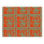 Fun Colorful Owls Orange Teal Blue ZigZag Pattern Postcard