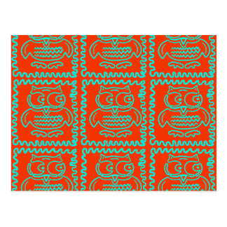 Fun Colorful Owls Orange Teal Blue ZigZag Pattern Postcard