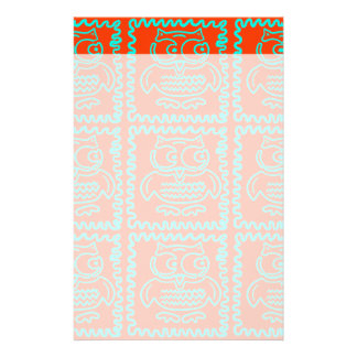 Fun Colorful Owls Orange Teal Blue ZigZag Pattern Stationery Design