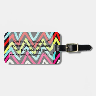 Fun Colorful Painted Chevron Tribal ZigZag Striped Luggage Tag