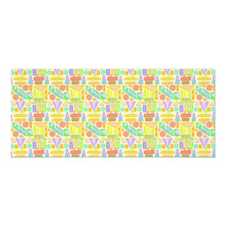 Fun colorful pattern abstract symbols bright color card