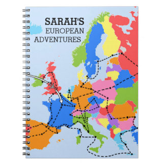 Fun Colorful Personalized European Travel Journal Spiral Note Book