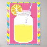 Fun Colorful Pink Lemonade Straw | Chevron Poster