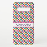 "Fun, Colorful Polka Dots Samsung Galaxy S10  Case<br><div class=""desc"">Phone case has a bright,  fun,  and colorful large polka dot pattern in teal,  green,  yellow,  orange,  red,  blue,  purple,  and pink with a customizable name template.</div>"